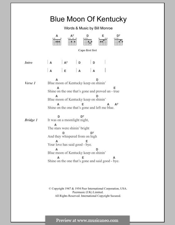 Blue Moon of Kentucky: Lyrics and chords by Bill Monroe