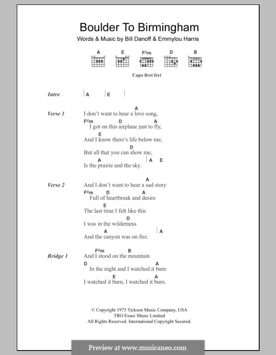 Boulder to Birmingham: Lyrics and chords by Bill Danoff, Emmylou Harris