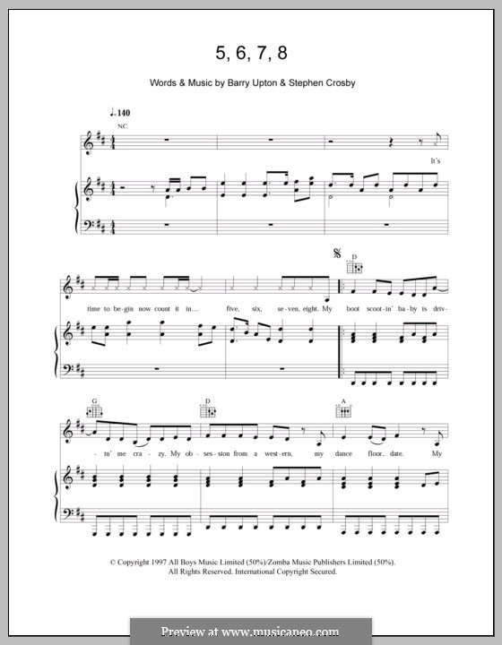 5, 6, 7, 8 (Steps): For voice and piano (or guitar) by Barry Upton, Stephen Crosby