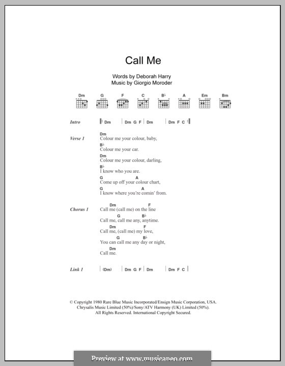 Call Me (Blondie): Lyrics and chords by Deborah Harry, Giorgio Moroder