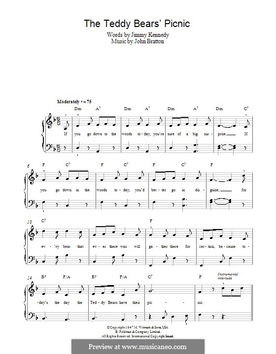 The Teddy Bears' Picnic: For easy piano by John Walter Bratton