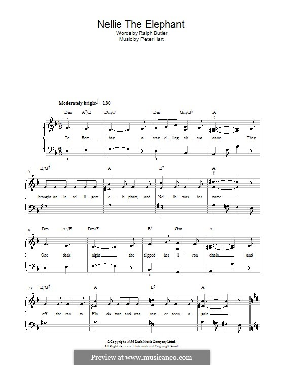 Nellie the Elephant: For easy piano by Peter Hart