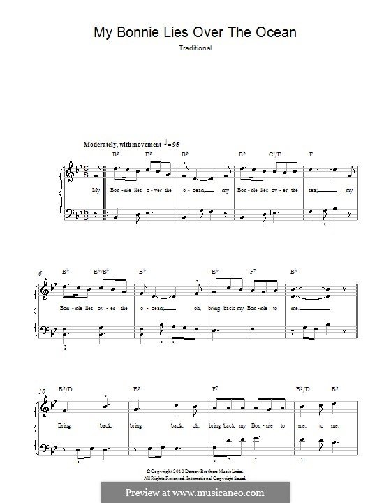 My Bonnie is over the Ocean: For easy piano by folklore