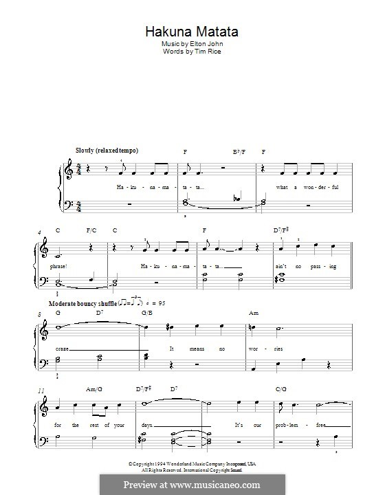 Hakuna Matata (from The Lion King): For easy piano by Elton John