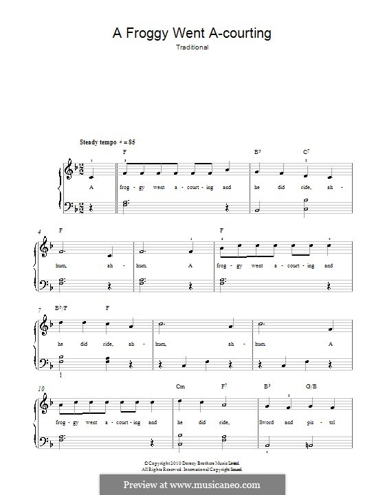 Frog Went A-Courtin': For easy piano by folklore