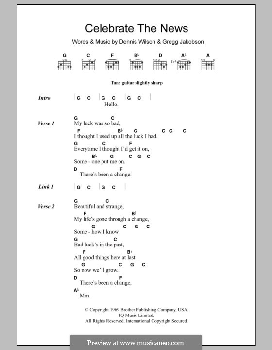 Celebrate the News (The Beach Boys): Lyrics and chords by Dennis Wilson, Gregg Jakobson