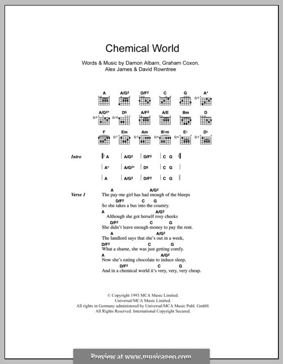 Chemical World (Blur): Lyrics and chords by Alex James, Damon Albarn, David Rowntree, Graham Coxon