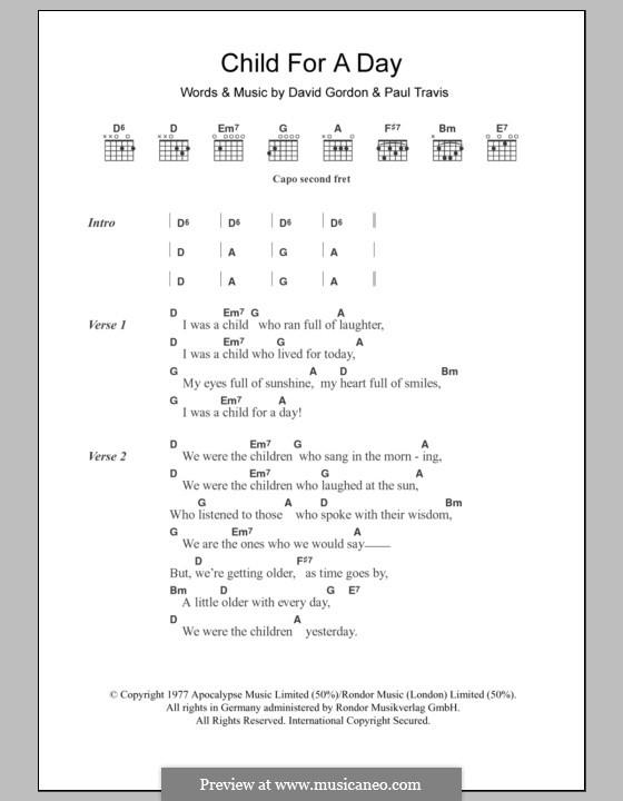Child for a Day (Cat Stevens): Lyrics and chords by David Gordon, Paul Travis