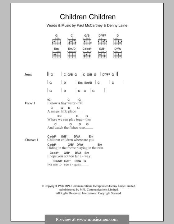 Children Children (Wings): Lyrics and chords by Denny Laine, Paul McCartney