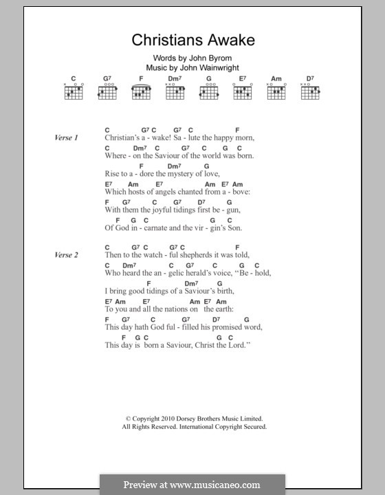 Christians, Awake: Lyrics and chords by John Wainright