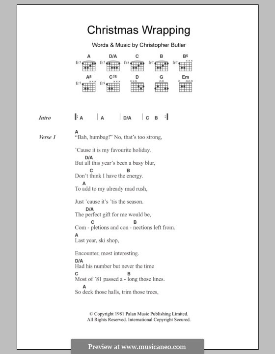 Christmas Wrapping (The Waitresses): Lyrics and chords by Chris Butler