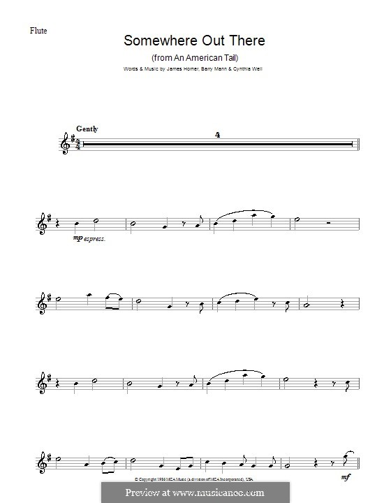 Somewhere Out There (from An American Tail): For flute by Barry Mann, Cynthia Weil, James Horner