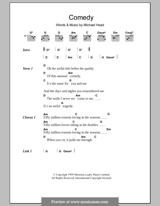 Comedy (Shack): Lyrics and chords by Michael Head
