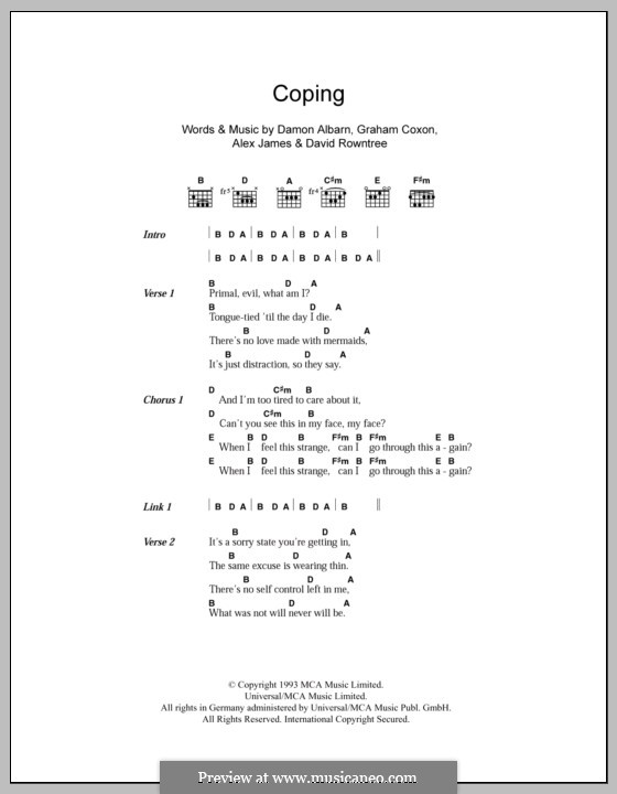 Coping (Blur): Lyrics and chords by Alex James, Damon Albarn, David Rowntree, Graham Coxon