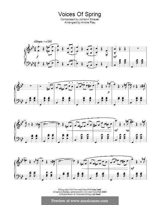 Voices of Spring, Op.410: For piano by Johann Strauss (Sohn)