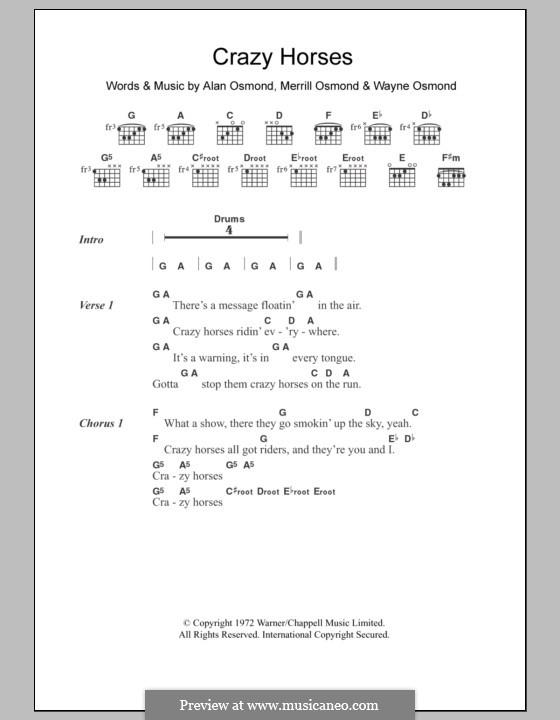 Crazy Horses (The Osmonds): Lyrics and chords by Alan Osmond, Merrill Osmond, Wayne Osmond