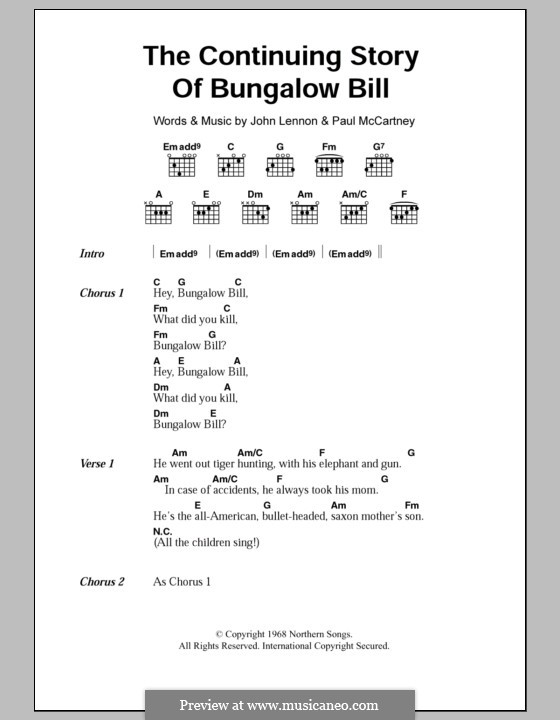 The Continuing Story of Bungalow Bill (The Beatles): Lyrics and chords by John Lennon, Paul McCartney
