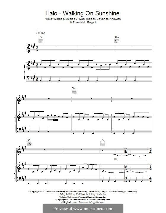 Halo / Walking on Sunshine (Glee Cast): For voice and piano (or guitar) by Beyoncé, Evan Kidd Bogart, Kimberley Rew, Ryan B Tedder
