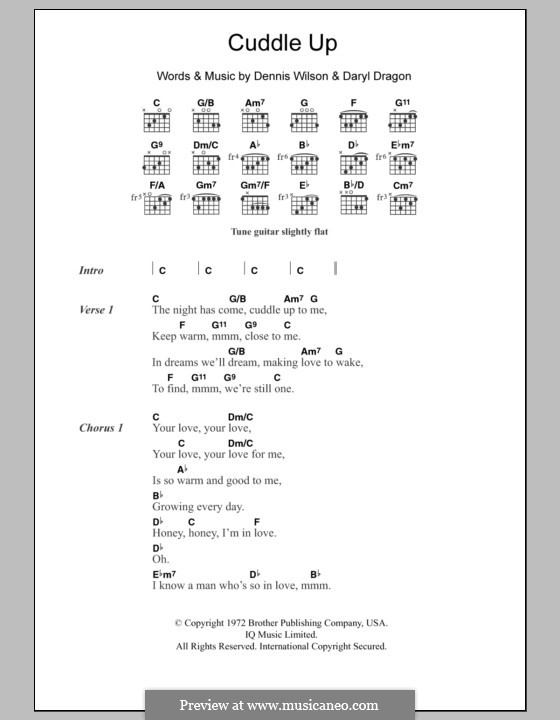 Cuddle Up (The Beach Boys): Lyrics and chords by Daryl Dragon, Dennis Wilson