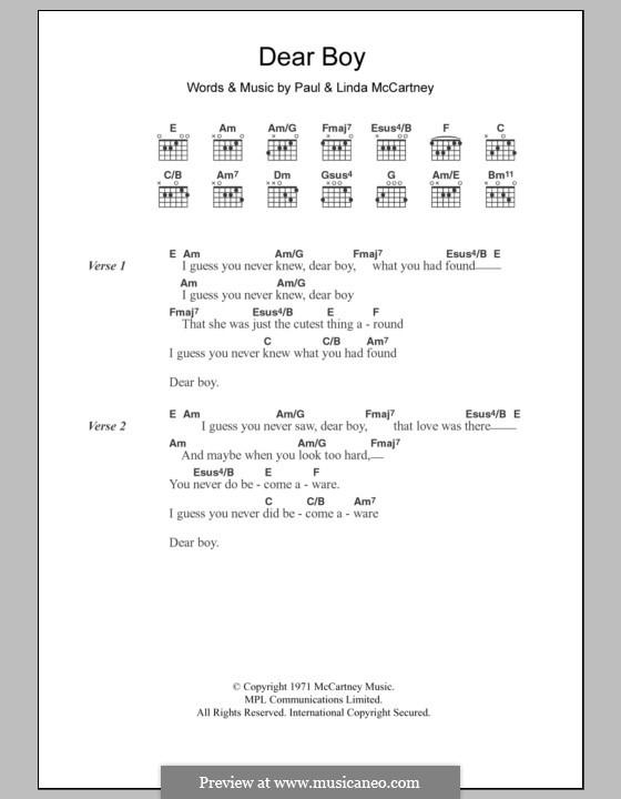 Dear Boy By L Mccartney P Mccartney Sheet Music On Musicaneo
