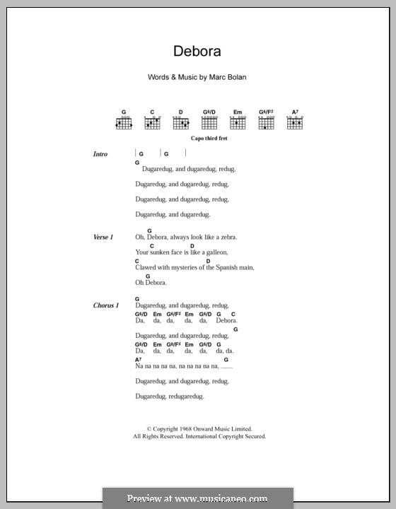 Debora (T Rex): Lyrics and chords by Marc Bolan