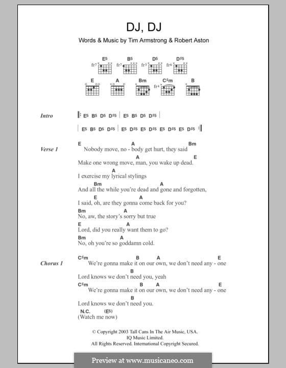 DJ, DJ (Transplants): Lyrics and chords by Robert Aston, Tim Armstrong