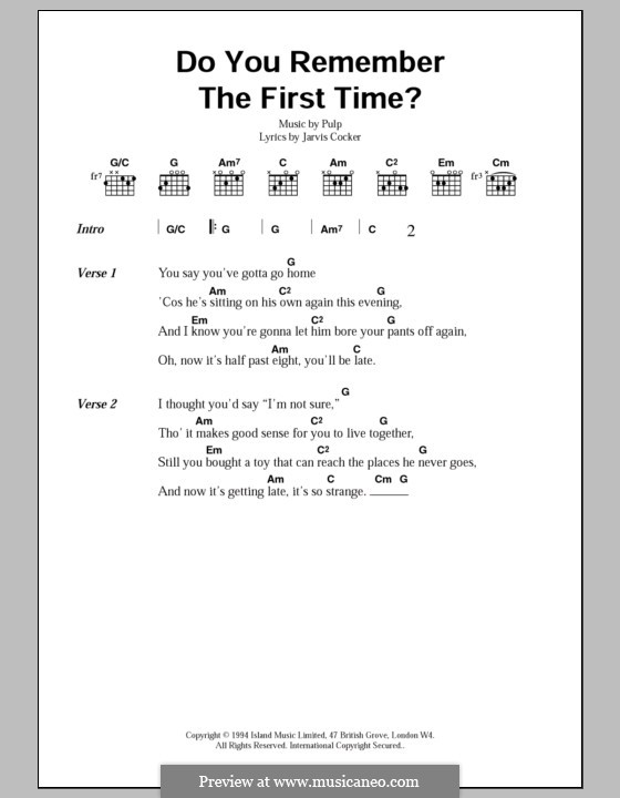 Do You Remember the First Time?: Lyrics and chords by Pulp