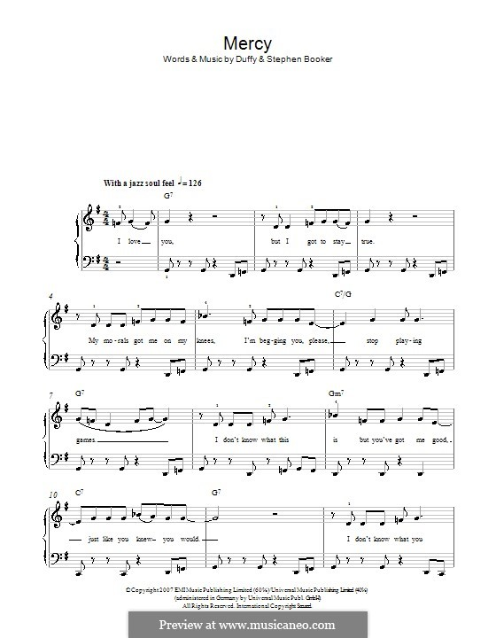 Mercy (Duffy): For easy piano by Aimee Duffy, Steve Booker