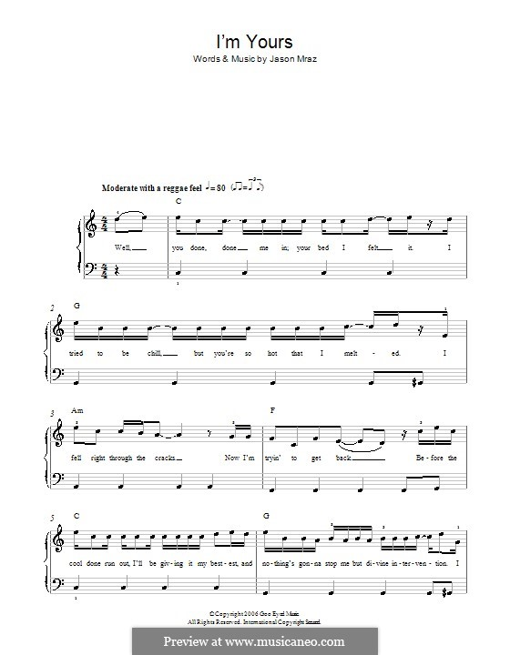 Im Yours By J Mraz Sheet Music On Musicaneo