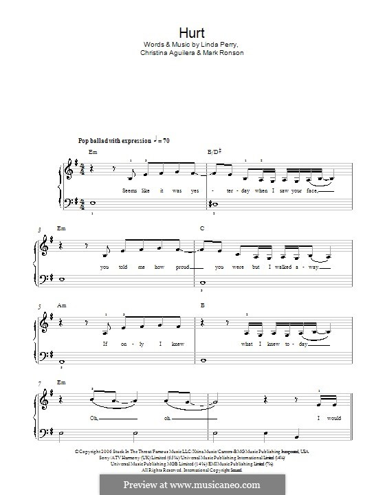 Hurt: For easy piano by Christina Aguilera, Linda Perry, Mark Ronson