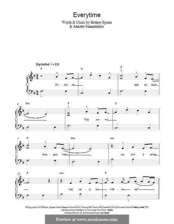 Everytime: For easy piano by Annette Stamatelatos, Britney Spears