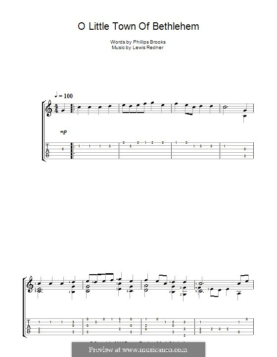 O Little Town of Bethlehem: For guitar with tabulature by Lewis Henry Redner