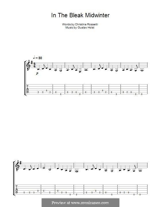 In the Bleak Midwinter: For guitar (Acoustic) by Gustav Holst