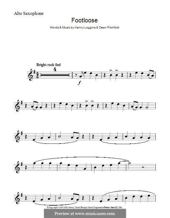 Footloose: For alto saxophone by Kenny Loggins