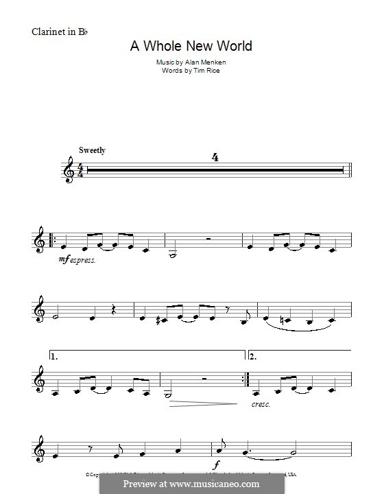 A Whole New World (from Aladdin): For clarinet by Alan Menken
