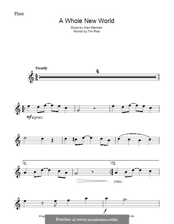 A Whole New World (from Aladdin): For flute by Alan Menken