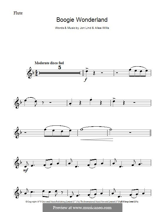 Boogie Wonderland (Earth, Wind and Fire): For flute by John Lind, Allee Willis