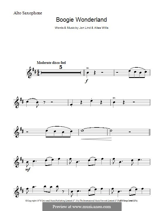 Boogie Wonderland (Earth, Wind and Fire): For alto saxophone by John Lind, Allee Willis
