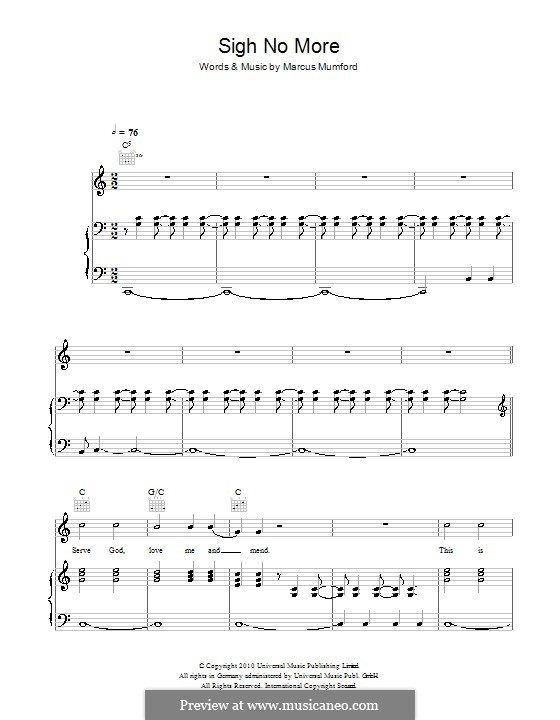 Sigh No More (Mumford & Sons): For voice and piano (or guitar) by Marcus Mumford