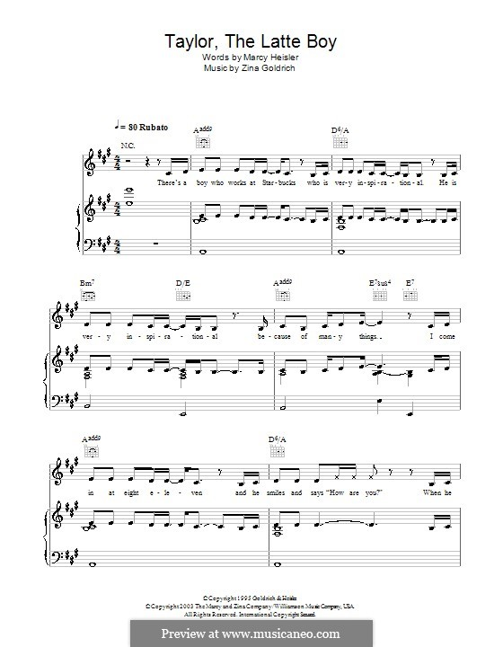Taylor, the Latte Boy: For voice and piano (or guitar) by Zina Goldrich