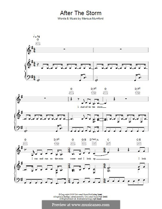After the Storm (Mumford & Sons): For voice and piano (or guitar) by Marcus Mumford