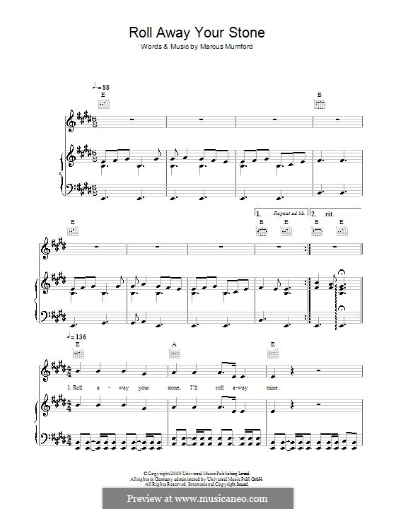 Roll Away Your Stone (Mumford & Sons): For voice and piano (or guitar) by Marcus Mumford