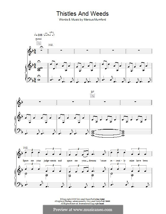 Thistle and Weeds (Mumford & Sons): For voice and piano (or guitar) by Marcus Mumford