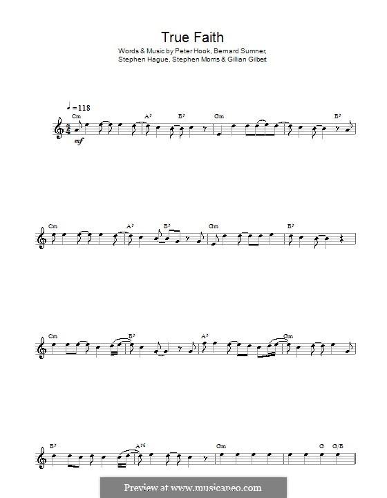 True Faith (New Order): For alto saxophone by Bernard Sumner, Gillian Gilbert, Peter Hook, Stephen Hague, Stephen Morris