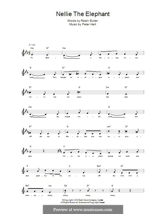 Nellie the Elephant: Melody line, lyrics and chords by Peter Hart
