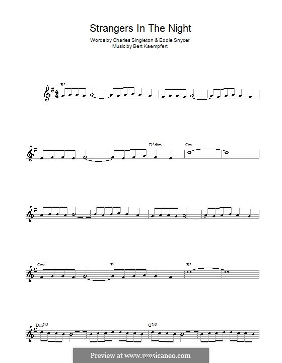 Strangers in the Night (Frank Sinatra): For alto saxophone by Bert Kaempfert