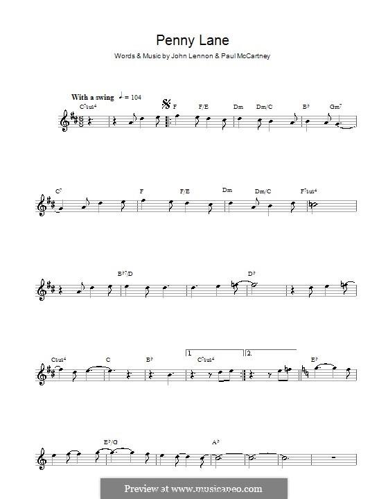 Penny Lane (The Beatles): For alto saxophone by John Lennon, Paul McCartney