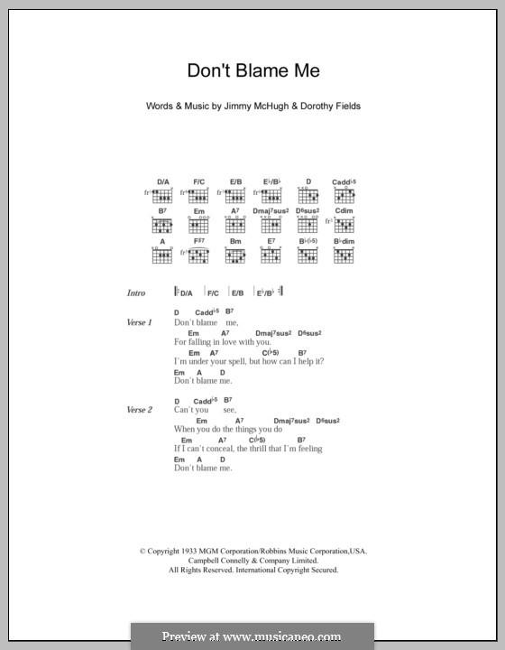 Don't Blame Me: Lyrics and chords by Jimmy McHugh