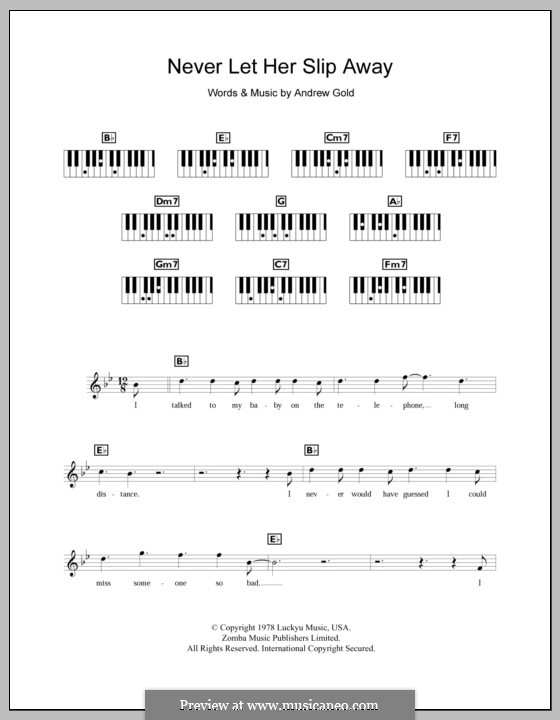 Never Let Her Slip Away: For keyboard by Andrew Gold