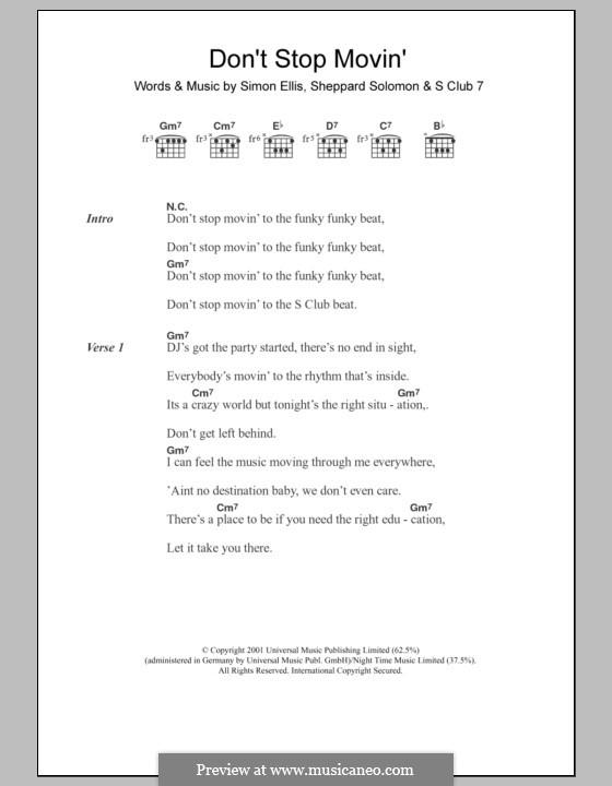 Don't Stop Movin': Lyrics and chords by S Club 7, Sheppard Solomon, Simon Ellis